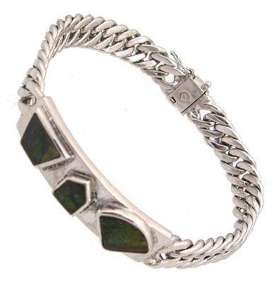 5911: SSilver Ammolite Freeforn 3-stone Bracelet 8inch