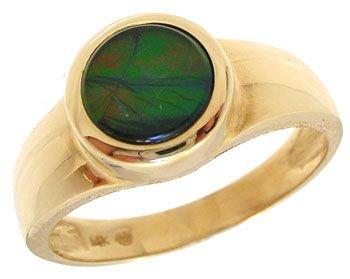 5912: 14KYG Ammolite round bezel Ring
