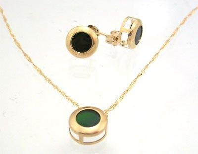 5913: 14KY Ammolite round bezel earring & Pendant w cha