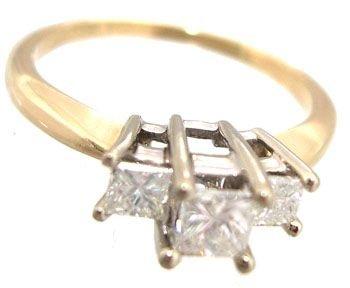 5915: 14KY .59cttw Diamond Princess 3-Stone Ring