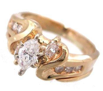 5916: 14KY .54cttw Diamond Marq Rd Wedding Set Ring