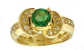 5982: 14KY .62ct Emerald Rd.15ct Diamond Designer Ring