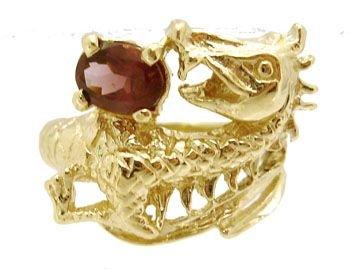 5987: 14KY 1ct Burgandy Spinel Dragon Ring