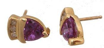 1203: 10KY .50ct Created Alexanderite .06Dia Earring
