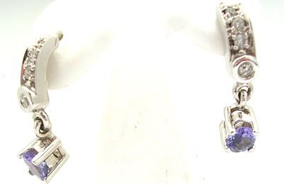 1214: 14KW .65ct Tanzanite Oval Diamond Earring