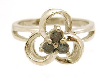 1216: 10KW .25cttw Blue Diamond Flower Ring