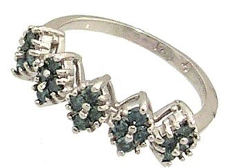1217: 10KW .50cttw Blue White Diamond Cluster Band Ring