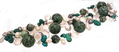 1219: SSterling Turquoise Pearl 3 Strand Adjustable Bra