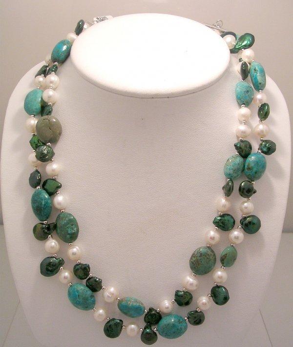 1220: SSilver Turqouise White Green Pearl 3-Strand Neck