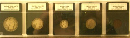 1223: Barber Liberty Indian INB Certified 5 coin set