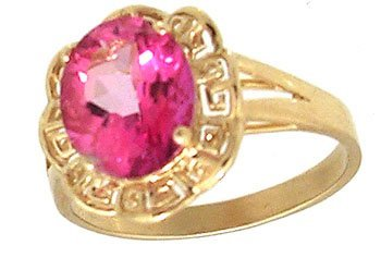 1225: 14KY 2.5ct Pink Topaz Oval Aztec Ring