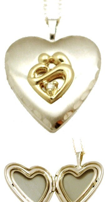 1600: 14KY Diamond Mother Child Heart Locket Necklace