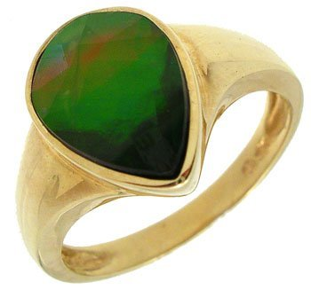 1604: 14KYG Ammolite Checkerboard pear bezel Ring