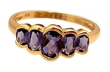 1609: 14KY 1cttw Tanzanite 5 Oval Half Bezel Ring