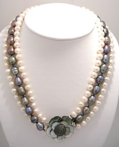 1613: 8-14mm Grey & White Pearl MOP 3 Strand necklace