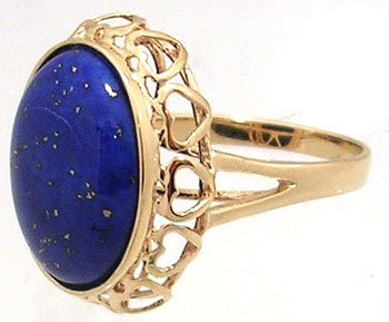 1615: 14KY 7.84ct Lapis Oval Cabachon Ring