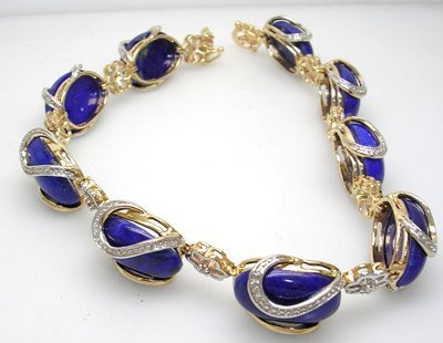 1617: 14KY 42.24ct Lapis Oval Diamond Bracelet