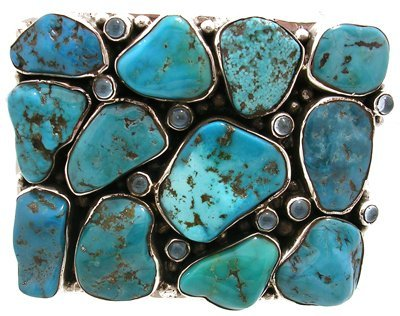 1627: SSilver Turquoise Moonstone Belt Buckle