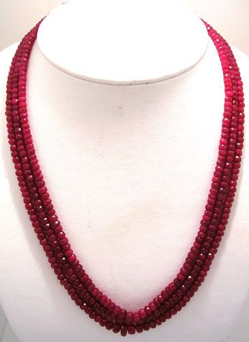 1660: 322ct Ruby faceted bead 3 Strand Necklace
