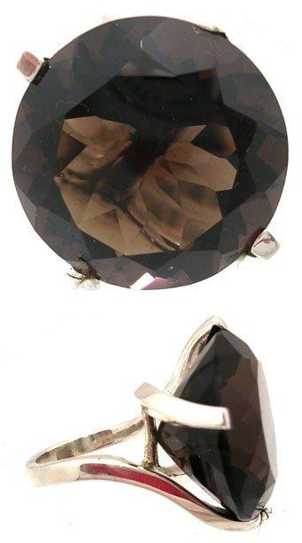 1902: SSilver Smoky Quartz Round Ring