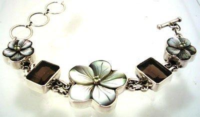 1903: SSilver MOP Shell Mystic Smoky Quartz Bracelet