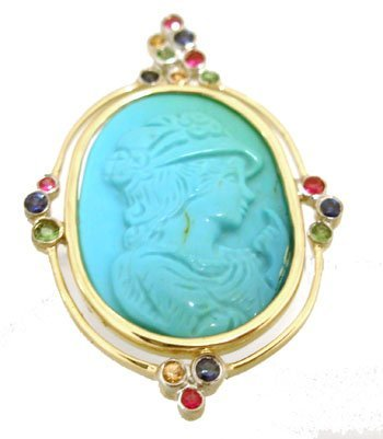 1907: 14KY 9.55ct Turquoise Cameo Sapphire Ruby Pendant