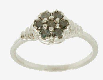 1909: 14KW .25cttw Blue Diamond Cluster Flower Ring