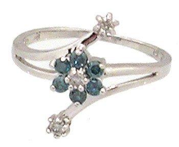 1910: 14KW .25cttw Blue White Diamond Flower Bypass Rin