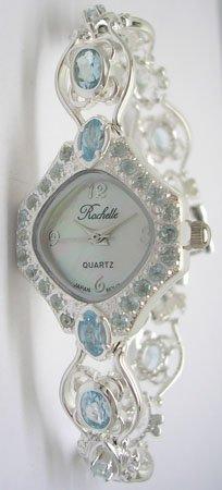 1913: SSilver 9.5cttw Blue Topaz Rochelle Ladies Watch
