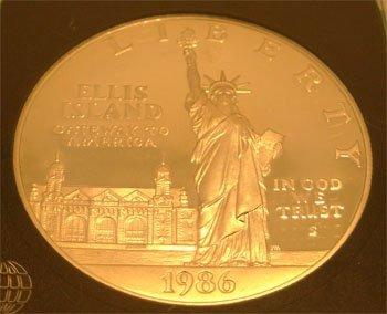 1918: SSilver 1986 S Statue of Liberty Coin INB certifi