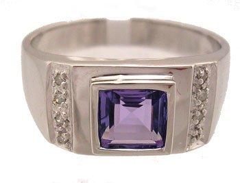 1985: 14KW 1.29ct Tanzanite Square Diamond Mens Ring