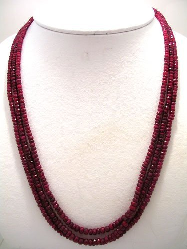 612: 221CT 3 strand Faceted Ruby Necklace