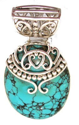 613: SSilver Turquoise Oval Filigree Pendant