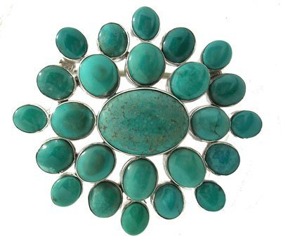 615: SSilver Turquoise Oval Cluster Belt Buckle