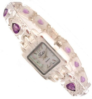 618: SSilver 4cttw Amethyst Rochelle Ladies Square Watc