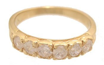1200: 14KY .75cttw White Sapp 6 Round Band ring