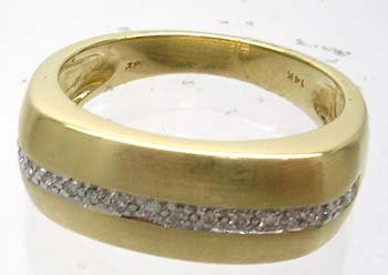 1201: 14KY .20cttw Round Pave Satin Finish Mens Band