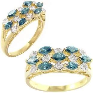 .80ct blue diamond marquise dia bezel ring