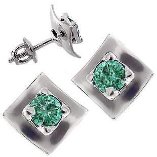 WG .77cttw Blue Diamond stud square earring