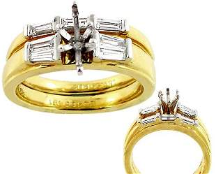 18K.50ct VS/SI Diamond bagguette ring set
