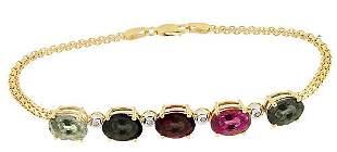 14KY 9ct MixTourmaline 5 oval dia bracelet 8i