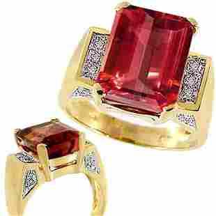 9ct pink Tourmaline e-cut diamond ring