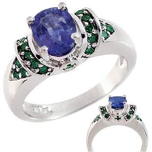 WG 1.40ct Purple Sapphire .25ct Blue Dia ring
