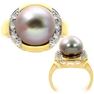 10/10.5m Tahitian pearl .10 white dia rd ring