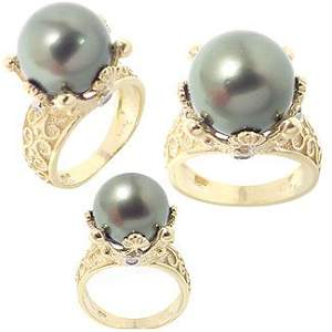 2019: 11.5mm Genuine Tahitian Pearl dia Crown Ring