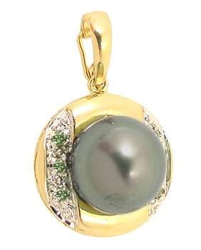 10/10.5m Tahitan pearl .08 green diam pendant