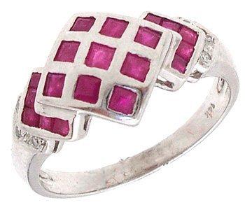 1600: 14KW RubyPrincess Diamond Checkerboard ring