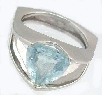 1604: 14KW 2ct Aquamarine Trillion Tension Set Ring