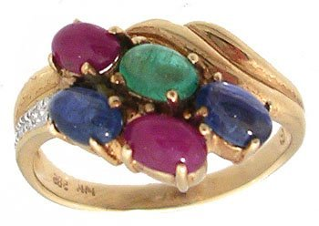 1605: 14KY 1.50ct Emerald Ruby Sapphire Cab Dia Cluster