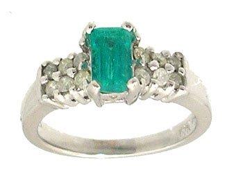 1607: 14KW .66ct Brazilian Emerald Ecut .29ct Dia Ring